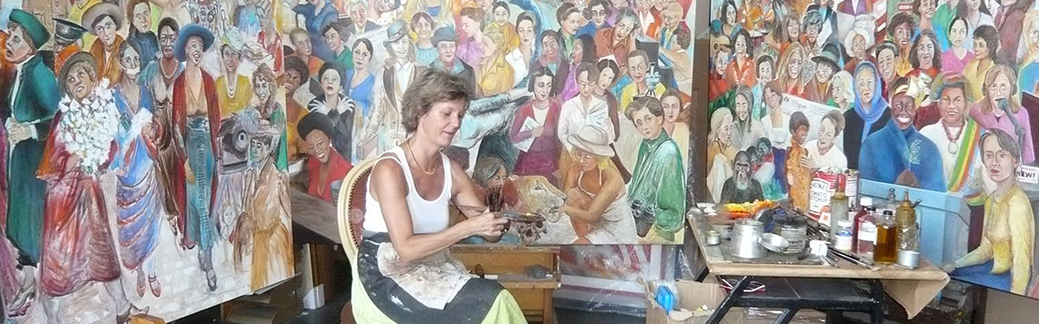 Mireille Miller at work in her studio