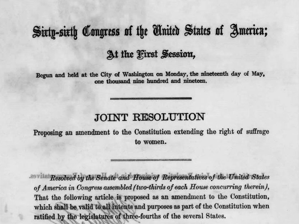 The Nineteenth Amendment to the Constitution Passes Both Houses of Congress